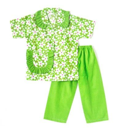 Pretty Floral Print Night Suit - Green - BownBee