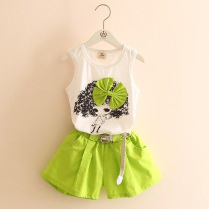 Cute Doll And Shorts Set - Light Green - Mauve Collection