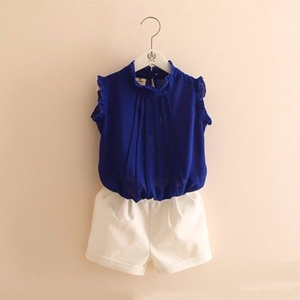 White Shorts And White Top Set - Mauve Collection