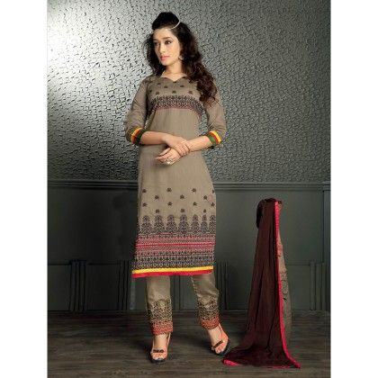 Grey Color With Printed Designer Wear Classic Dress Material - Balloono