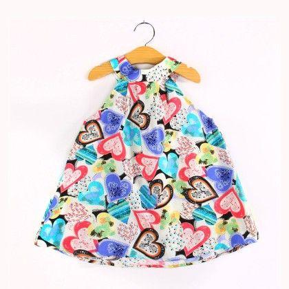 Heart Prints Halter Neck Dress - Child NY
