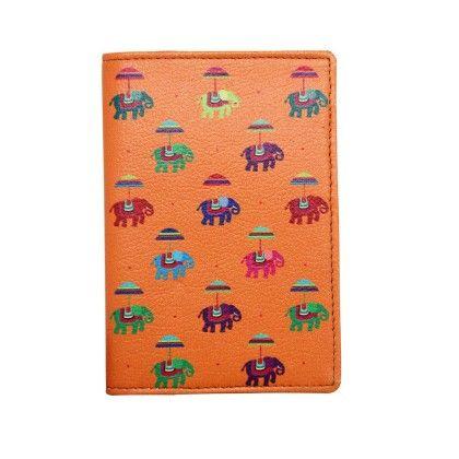 Passport Cover Orange Flying Elephants - The Elephant Company