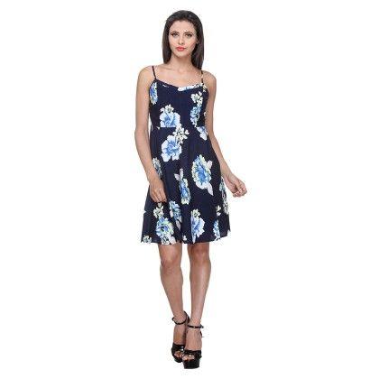 Navy Blue Rayon Printed Short Dress With Floral Print - Varanga
