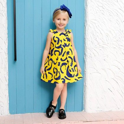 Yellow Attractive Printed Frock - Lil Mantra