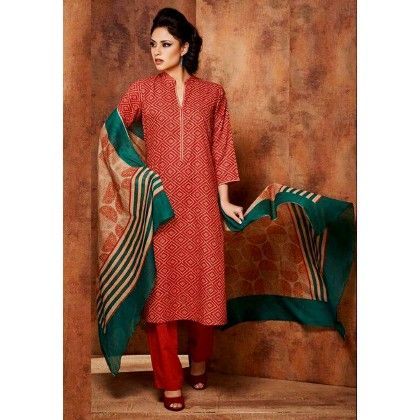 Red & Green Printed Cotton Dress Material - Afreen