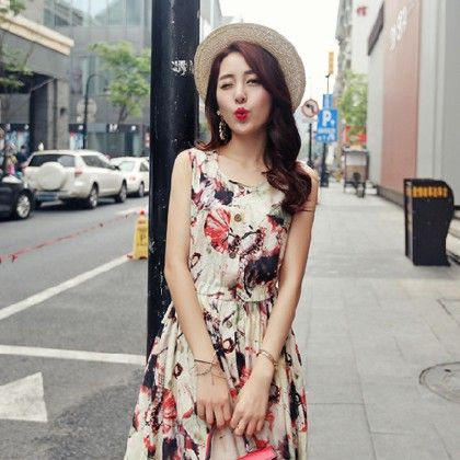 Vintage Printed Casual Woman Tunic Pink - Style O Style