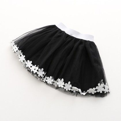 Black Tutu Skirt With Lace Work - Lilpicks Couture