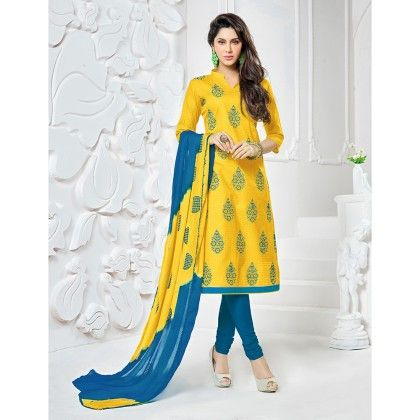 Yellow Semistitched Embroidery Dress-material - Fabfella