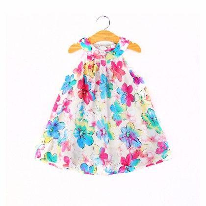 Cute Flower Print Halter Neck Dress - Child NY