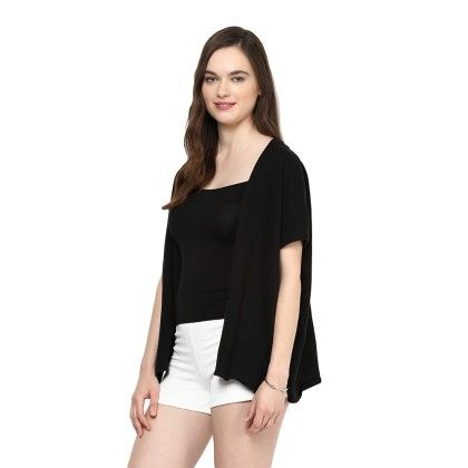 Knitted Poncho Cape Wrap Top Black - Pluchi