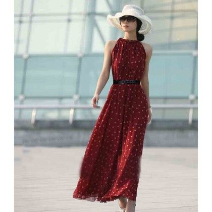 Red Polka Dot Maxi Dress - Angel's Couture