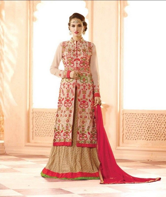 Suit And Skirt Semistitched Dress Material Beige - Balloono