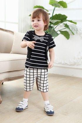 Cute Black Stripe T-shirt With White 3/4th Pants - Set Of 2 - Dapper Dudes