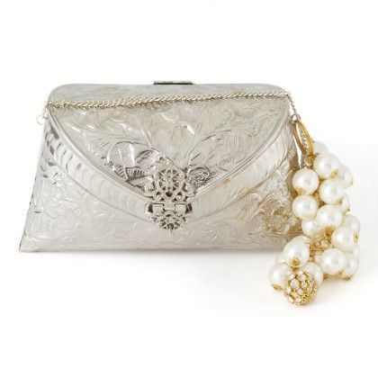 Indo Western Style Mirror And Threadwork Clutch - Silver - Mauve Collection