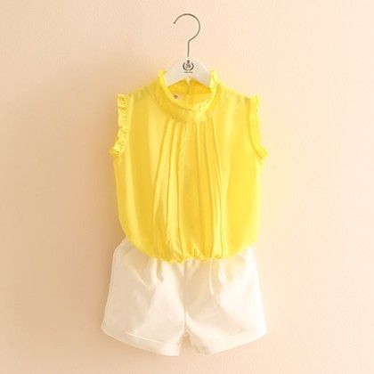 Yellow Top And White Shorts Set - Mauve Collection