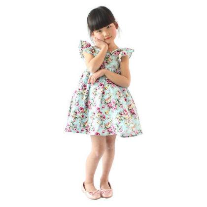 Classy Ruffle Sleeved Floral Dress - Light Blue - SJ