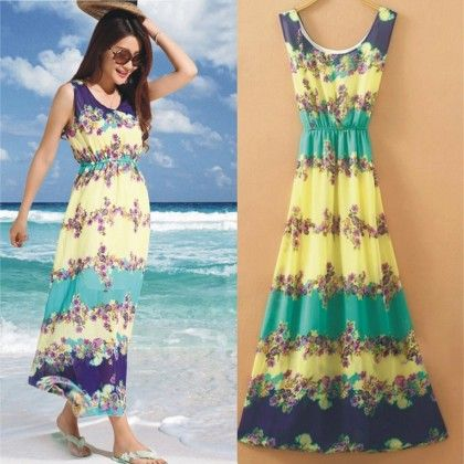 Turquoise Floral Print Summer Long Dress - Dell's World