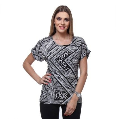 White Poly Crepe Printed Top - Varanga
