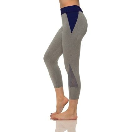 Stylish Mesh Capris With Media Pocket Gray And Navy - S2 Sportswear