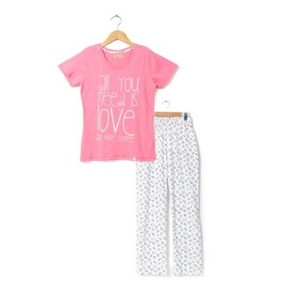 Pink Top With Coffee Mugs Printed Full Pyjama Set - Sheer Love