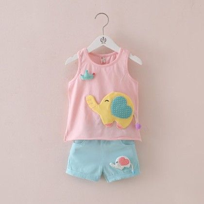 Pink Patchwork Top And Blue Shorts Set - Mauve Collection