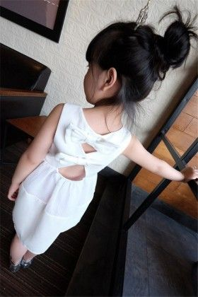 Beautiful Bow Applique Party Dress-white