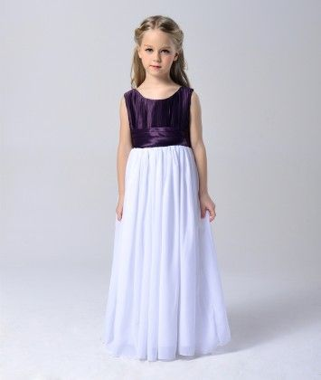 Purple And White Round Neck Maxi-dress - Foshan