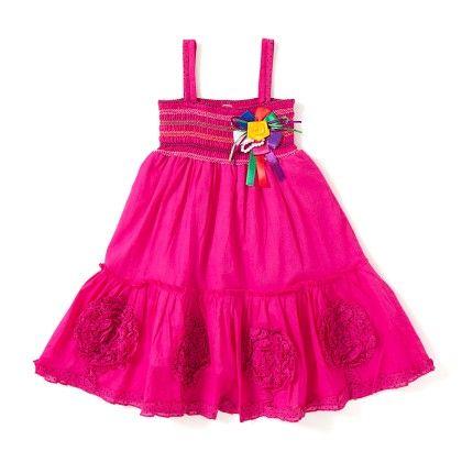Spaghetti Tiered Pink Cotton Dress - BownBee