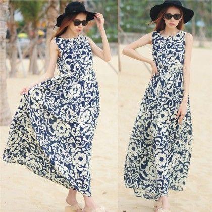 Persian Floral Print Summer Long Dress - Dell's World