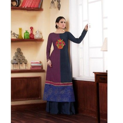 Navy Half And Half Embroidered Kurti - Jashn