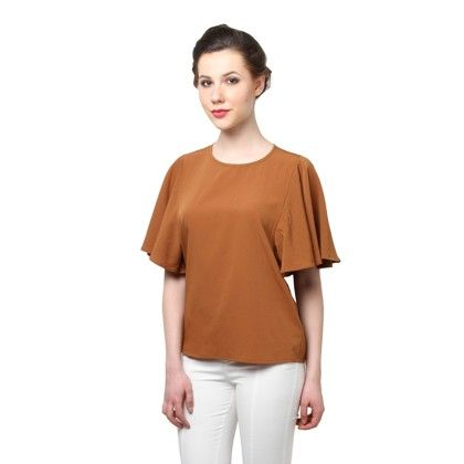 Brown Bell Sleeves Top - XNY