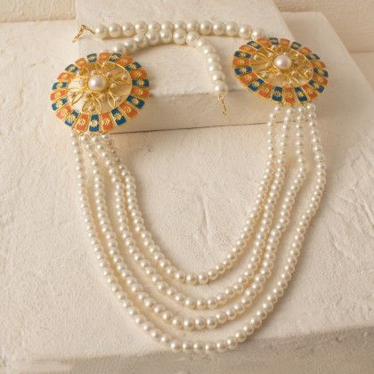 Pearl Beaded Long Necklace With Colorful Enamel Work - Voylla
