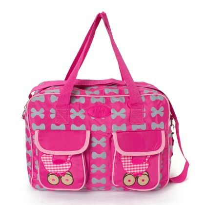 Pink Diaper Bag With Blue Bows - A Baby