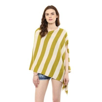 Knitted Poncho Cape Wrap Top Mustard Green-oat - Pluchi