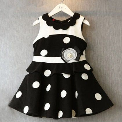 Black And White Polka Dots Evening Dress - Teddy Guppies