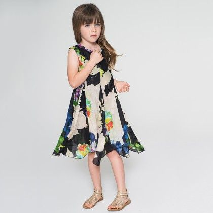 Black Floral Fit & Flare Dress & Headband - Toddler & Girls - Yo Baby