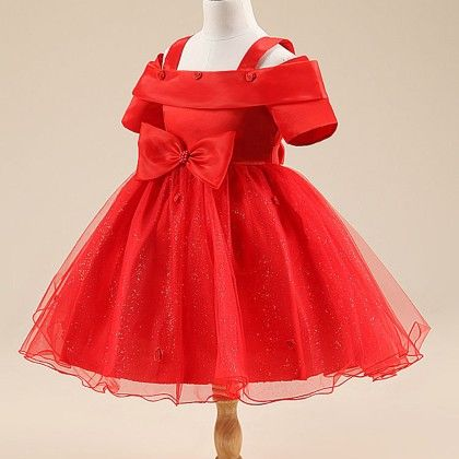 Beautiful Off Shoulder Style Red Dress - Mauve Collection