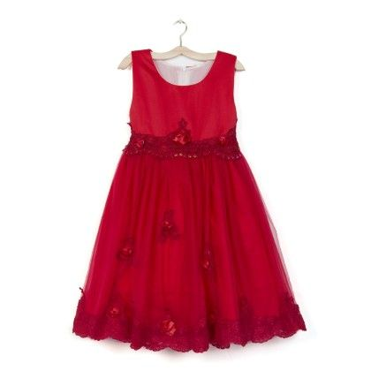 Red Long Dress With Lace & Flower - Party Princess