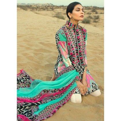 Sana Safinaz Pink & Green Semistitched Suit - Mauve Collection
