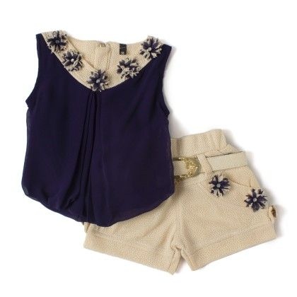 Blue Shorts And Top With Belt Flower Patch Work Birthday Party Dress - Aww Hunnie!!