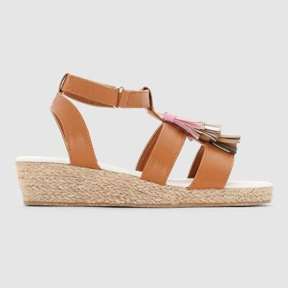 Girls Natural Sandals With Tassels - La Redoute