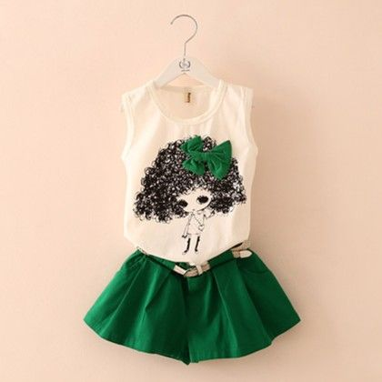 Cute Doll And Shorts Set - Green - Mauve Collection