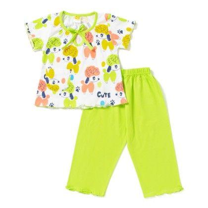 Dog Print Girls Night Suit - Light Green - Little