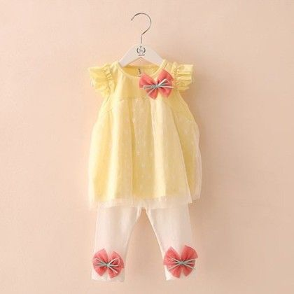 Yellow Frock With White Bottom Summer Set - Mauve Collection