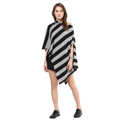 Knitted Poncho Cape Wrap Top Black-light - Pluchi