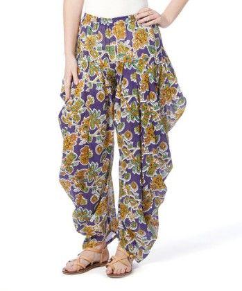 Purple & Gold Paisley Floral Harem Pants - Women - Yo Baby
