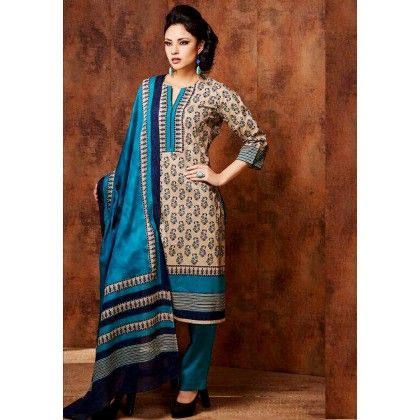 Beige & Blue Printed Cotton Dress Material - Afreen