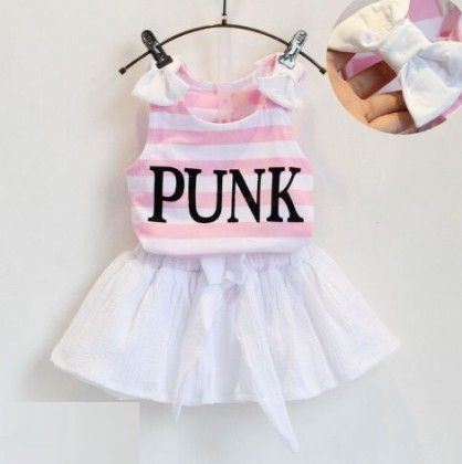 Cute Pink Stripe Top And Skirt Set - Andy