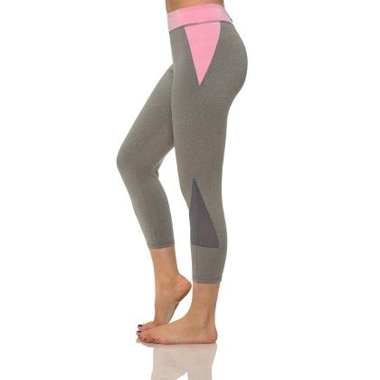 Stylish Mesh Capris With Media Pocket Gray And Pink - S2 Sportswear