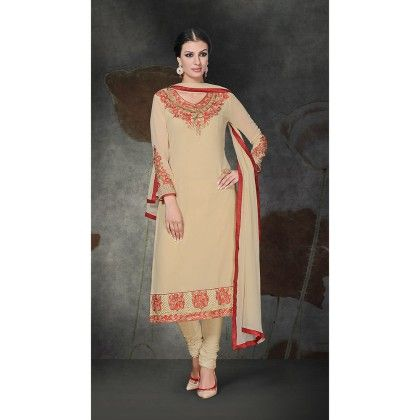 Beige With Red Embroidered Designer Wear Georgette Suit Dress Material - Balloono